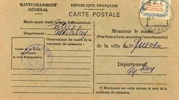 Carte De Ravitaillement, Mairie De ETEL (Morbihan), Cachet à Date Du  ?? 1946 - Marcophilie (Lettres)