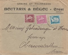PASTEUR 1F50 -SEMEUSE 75 + 15C SUR LETTRE ENTETE BOUTARIN ET BEGOU GRAINS AU TARIF 2E ECH CREST AMBULANT P/SUISSE 1928 - Storia Postale