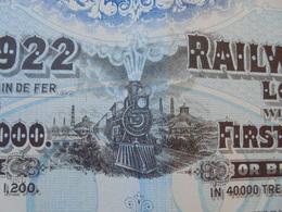 CHINE - RAILWAY EQUIPEMENT, 8% 1922 - BON DE £ 20 - BRUXELLES 1922 - BELLE DECO - TITRE GRAND FORMAT - Actions & Titres