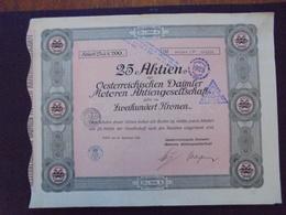 """AUTRICHE - VIENNE 1921 - AUTOMOBILE """"DAIMLER"""" - TITRE DE 25 ACTIONS DE 200 COURONNES - BELLE FRISE - Actions & Titres"""