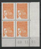 N° 3447 ** (MNH). Coin Daté Du 08/11/01. TB - Ecken (Datum)