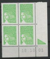 N° 3450 ** (MNH). Coin Daté Du 18/10/01. TB - Ecken (Datum)