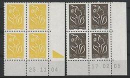 N° 3731 + 3754 ** (MNH). Deux Coins Datés Du 25/11/04 Et Du 17/02/05. TB - Dated Corners