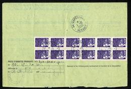 !! Feuillet Liasse Changement AdresseTEMPORAIRE 34 MONTOULIERS 2-10-2000 Tarif 120F Dos 12 Timbres 10F Marianne Luquet - Documents Of Postal Services