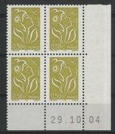 N° 3735 ** (MNH). Coin Daté Du 29/10/04. TB - Ecken (Datum)