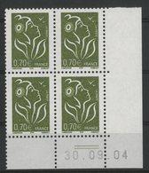 N° 3736 ** (MNH). Coin Daté Du 30/09/04. TB - Ecken (Datum)