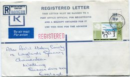 B. A. T. LETTRE RECOMMANDEE PAR AVION DEPART BRITISH ANTARCTIC TERRITORY 31 DE 83 HALLEY POUR LA GRANDE-BRETAGNE - Territoire Antarctique Britannique  (BAT)