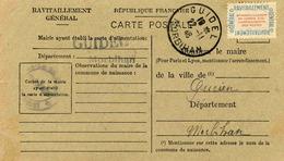 Carte De Ravitaillement, Mairie De GUIDEL (Morbihan), Cachet à Date Du 20 Novembre 1946 - Marcophilie (Lettres)