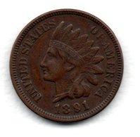 USA  - 1 Cent 1891  - KM 90 A  - état  TTB - 1859-1909: Indian Head