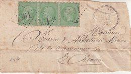 """FRANCE : GC 4361 . """" ZICAVO """" . (19) . N° 35 . BANDE DE TROIS . 1873 . SUR DEVANT DE LETTRE . - Postmark Collection (Covers)"""