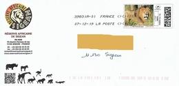 """Montimbrenligne """"lion"""" Sur Enveloppe Réserve Africaine Sigean Aude Lowe Félin Katzen Rhino Singe Croco Girafe Ane - Felinos"""