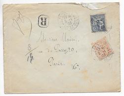 1903 - BEL AFRR. MOUCHON Sur ENVELOPPE RECOMMANDEE De PARIS => PARIS - Marcophilie (Lettres)