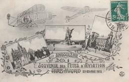 CPA:SOUVENIR DES FÊTES D'AVIATION PARIS MADRID MAI 1911 AVION TROIS VUES ANGOULÊME.ÉCRITE - Angouleme