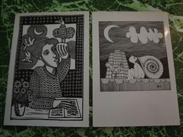 SERIE DE 10 Cartes Postales Naives  HENRI JEAN - Andere Zeichner