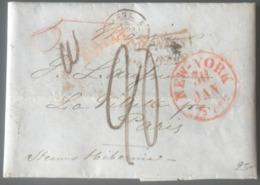 """Lettre De New York 1846 Pour Paris - """"steamer Hibernia"""" + Griffe COLONIES / &c.ART. 13 - (B2720) - 1801-1848: Précurseurs XIX"""