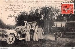 LE MANS L'AVIATION EN 1908 CAMP D'AUVOURS LA REINE MARGUERITE D'ITALIE VIENT ASSISTER AUX EXPERIENCES DE Mr WRIGHT TBE - Le Mans