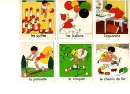 ILLUSTRATION Manon Lessel (9) Jeux D'enfant (patinette,croquet, Quilles, Chemin De Fer, Ballons,aquarelle, Poupées...) - Trade Cards