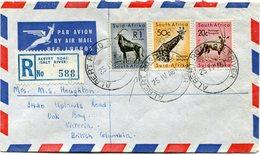 AFRIQUE DU SUD LETTRE RECOMMANDEE PAR AVION DEPART ALBERT ROAD 25 IV 61 POUR LA COLOMBIE BRITANNIQUE - Storia Postale
