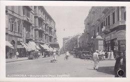 Egypt PPC Alexandria  - Boulevard Saad Zaghloul Animation Old Cars Alte Autos Echte Real Photo Véritable (2 Scans) - Alexandria