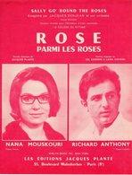 PARTITION ROSE PARMI LES ROSES DE JACQUES PLANTE PAR NANA MOUSKOURI / RICHARD ANTHONY - 1963 - EXC ETAT PROCHE DU NEUF - - Música & Instrumentos