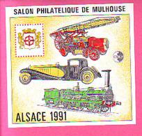 BLOC CNEP N° 13 ** NEUF LUXE SALON PHILATELIQUE DE MULHOUSE ALSACE 1991 VEHICULE POMPIER LOCOMOTIVE ANCIENNE VOITURE - CNEP