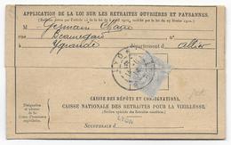 1914 - 1c BLANC SEUL Sur IMPRIME De La CAISSE NATIONALE Des RETRAITES - LYON => YGRANDE ALLIER - Marcophilie (Lettres)