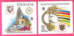 BLOCS CNEP N° 14 - 15 ** NEUF LUXE SALON PHILATELIQUE DE TOURS 1992 TOURAINE TGV - ANNEE OLYMPIQUE - CNEP