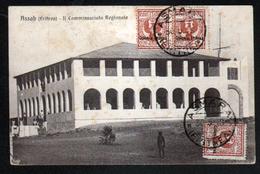 Erythree, Assah, Il Commissariato Regionale, Affranchissement Avec 3x Y&T N°20, Marque Postale Au Verso - Erythrée