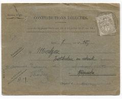 1919 - 1c BLANC SEUL Sur ENVELOPPE Des CONTRIBUTIONS De REQUISTA (AVEYRON) - Marcophilie (Lettres)