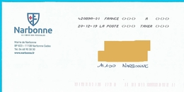Toshiba à Taxer Sur Enveloppe Mairie Narbonne Aude Non Affranchie - Taxes