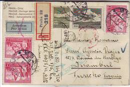 Carte RECOMMANDEE PAR AVION De PRAGUE Tchecoslovaquie Pour La TURQUIE , Premier Vol ..; Lettre - Tchécoslovaquie