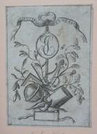 Ex-libris Illustré XVIIIème - Aux Initiales EJ Et Devise MUSIS ET GENIO - Ex-libris