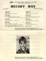 PARTITION MELODY MAN PAR PETULA CLARK - 1969 - EXC ETAT PROCHE DU NEUF - - Music & Instruments