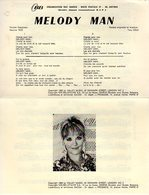 PARTITION MELODY MAN PAR PETULA CLARK - 1969 - EXC ETAT PROCHE DU NEUF - - Musica & Strumenti