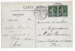 1907 - LOIRE - CARTE De ST VICTOR SUR RHINS Avec CACHET De BUREAU De DISTRIBUTION SUP ! - Marcophilie (Lettres)