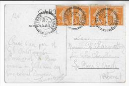 1922 - RHONE - CARTE De YZERON Avec CACHET De BUREAU De DISTRIBUTION SUP ! Sur SEMEUSE - Marcophilie (Lettres)