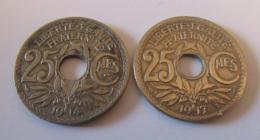 France - 2 Monnaies 25 Centimes Lindauer 1914 Et 1917 (Centimes Non-souligné) - Achat Immédiat - Francia