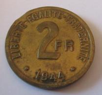 """France - Monnaie 2 Francs """"FRANCE"""" 1944 Fautée / Faute De Frappe, Flan Clipé - Philadelphie - Rare - I. 2 Francs"""