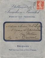 SEMEUSE 10C SUR ENVELOPPE ILLUSTREE ETS FAUCHON - BAUDOT BRIQUES PARAY LE MONIAL SEINE ET LOIRE 1914 POUR CUSSET ALLIER - Marcophilie (Lettres)