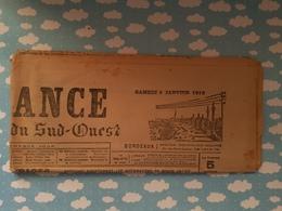Journal La France De Bordeaux Et Du Sud Ouest WWI 8 Janvier 1916 - Journaux - Quotidiens