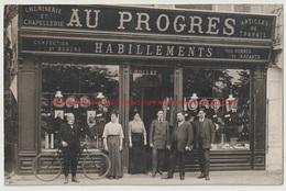 Cpa Calvados Trouville Sur Mer Quai Joinville Devanture Enseigne Au Progrès Habillements Chemiserie Et Chapellerie - Trouville