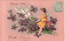 CPA Carte Gaufrée Bonne Année Fillette Enfant Bonne Fête - Fêtes - Voeux