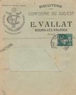 SEMEUSE 5C SUR ENVELOPPE ILLUSTREE E.VALLAT CONFISERIE DE SUD EST BOURG LES VALENCE 1/10/12 POUR CHABEUIL DROME - Marcophilie (Lettres)
