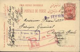 Entier CP UPU Perse Postes Persanes Iran Shah 5 Ch Rouge CAD Recht N1 23 X 17 Pour La Suisse - Iran