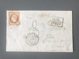 France N°16 Sur Lettre 1869 - Taxe 8 - Marque D'échange GB 1F60c - TAD ANGL. AMB CALAIS - (B2736) - 1849-1876: Klassik