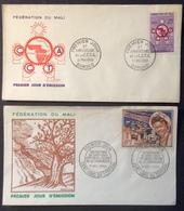AFMA2 Fédération Du Mali Tricentenaire St Louis 11/12/1959 + C.C.T.A. Bamako 21/5/1960 FDC Premier Jour Lot 2 Lettre - Mali (1959-...)