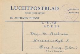 Nederlands Indië - 1948 - Portvrij Luchtpostblad Van Veldpost Soerabaja/2 Naar Doesburg / Nederland - Indes Néerlandaises