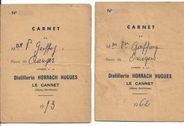 2 CARNETS De Fleurs D ORANGER  Pour Distillerie R HORRACH LE CANNET 1953 62 Mme Geoffroy N070 - France