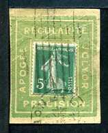 Semeuse N° 137  Sur Porte Timbre JOLYOR N° 1210 Yvert (livret De L'expert 2010) - 1906-38 Semeuse Camée