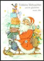 D3063 - Glückwunschkarte Weihnachten Weihnachtsmann Santa Claus Teddy - Kerstman